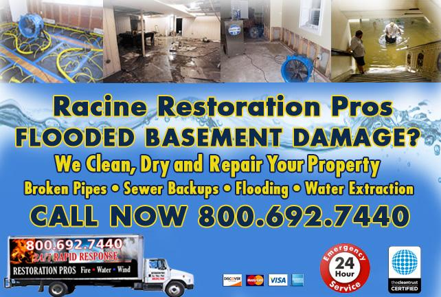 Racine flooded basement cleanup